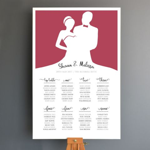 Personalised Bride And Groom Wedding Seating Plan